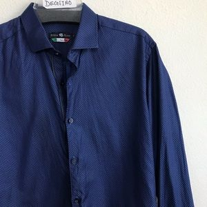 Stone rose Button Down Long Sleeve Blue Shirt M